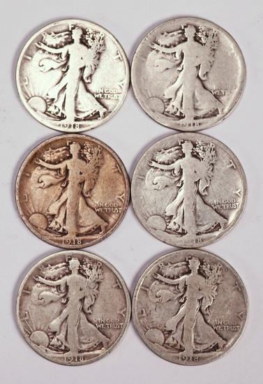 6 1918 Walking Liberty Half Dollars