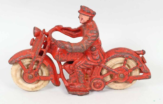 1940's Hubley Cast Iron Harley Davidson Police Patrol Motorcycle