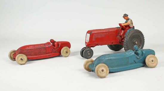 Vintage Hard Rubber Race Cars & Tractor