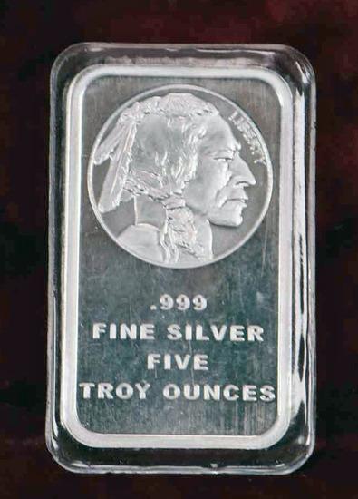 """Five Ounces Silver Bullion """"Indian Head"""""""