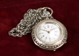 Coin Silver Cased Ladies Pendant Watch