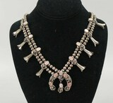 Squash Blossom Necklace w/ Pink Mother of Pearl Accents