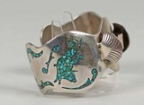 Large Silver Cuff w/ Inlaid Turquoise