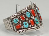 Southwest Watch Band w/ Turquoise and Coral Stones - Moore