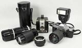 Canon AE 1 Camera, Cannon FL 200mm Lens, Soligor Auto Tele Converter, &