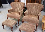 Queen Anne Style Upholstered Chairs & Ottomans