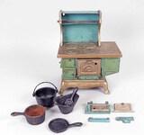 Cast Iron Miniature Wood Stove w/ Pots, Pans, Coal Scuttle