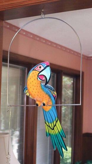 Large Decorative Parrot on Perch