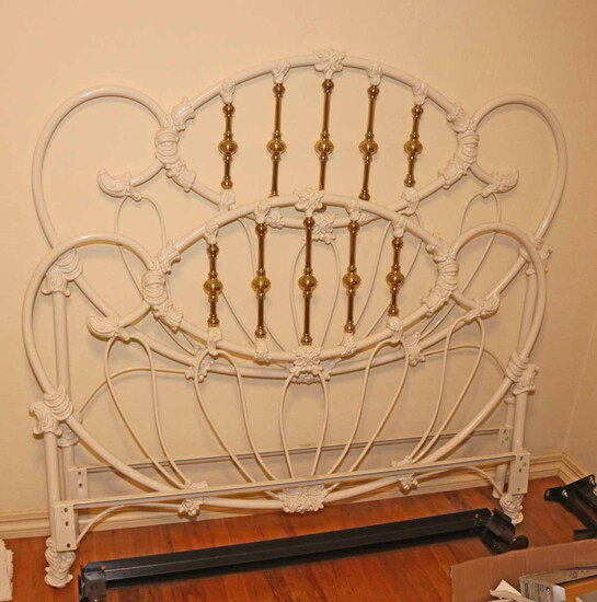 Heavy Iron Bed w/ Brass Finished Accents
