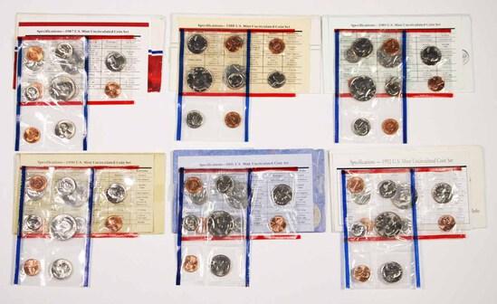 6 U.S. Mint  Uncirculated Sets; 1987,1988,1989,1990,1991,1992