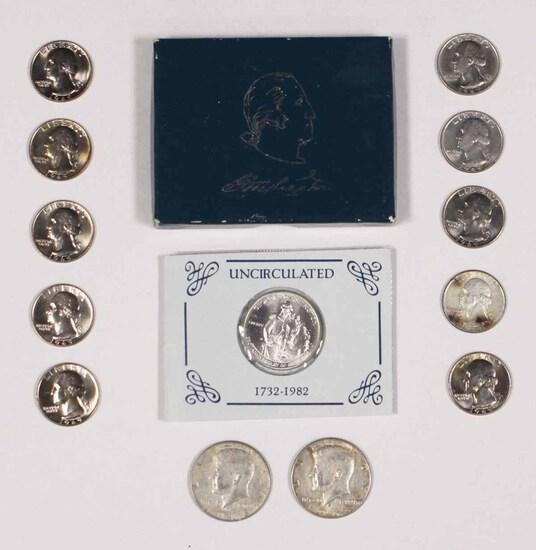 George Washington Silver Commeniratuive Unc Half,2-1968 Kennedy Halves +