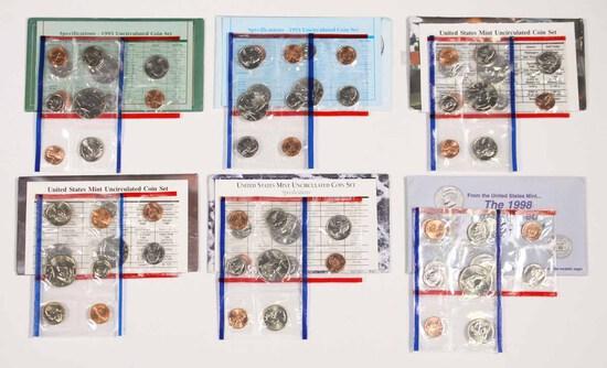 6 U.S. Mint  Uncirculated Sets; 1993,1994,1995,1996,1997,1998