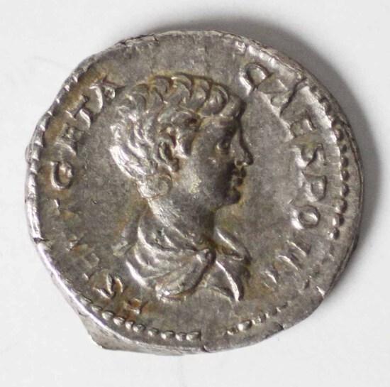 209-212 AD Imperial Rome Denarius AR Geta