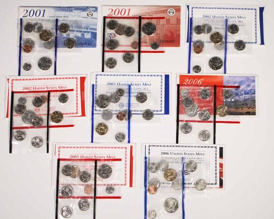 8 U.S. Mint  Uncirculated Sets; 2001-P,2001-D,2002-P,2002-D +