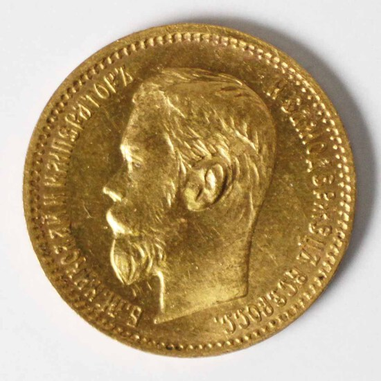 1902 Gold Russia 5 Rouble