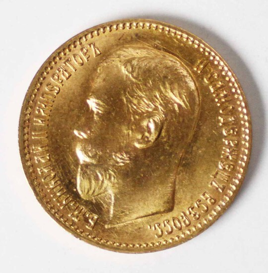 1909 Gold Russia 5 Rouble