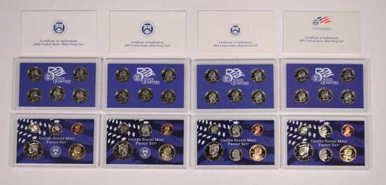 4 U.S. Mint Proof Sets; 2000,2003,2004,2005