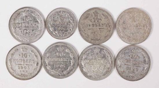 1902 Silver Russia  5 Kopek + 7 Silver Russia 10 Kopeks various dates