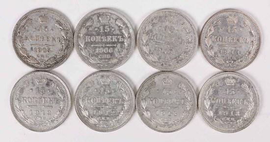 8 Silver Russia 15 Kopeks;1905,1906,1909,1911,2-1912,2-1913