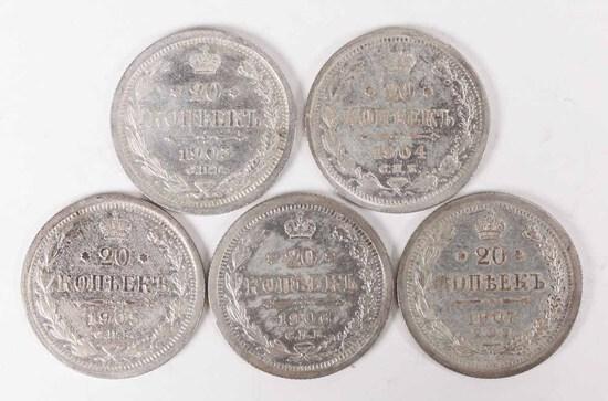 5 Silver Russia 20 Kopeks; 1903,1904,1905,1906,1907