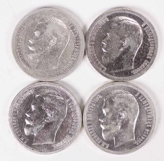 4 Silver Russia 50 Kopeks; 1897,1899,1911,1912