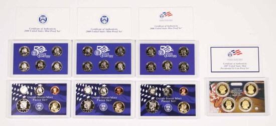 3 U.S.  Mint Proof Sets; 2-2000,2006 & 2007 U.S. Mint Pres.$1 Coin Proof Set
