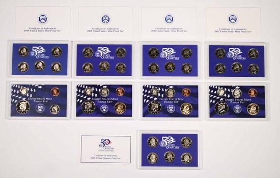 4 U.S. Mint Proof Sets; 1999,2000,2001,2002 & 2002 State Quarter Proof Set