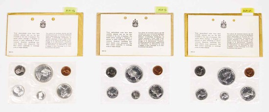 3 Canadian Unc. Coin Sets; 2-1964 + 1965