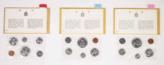 3 1964 Canadian Unc Coin Sets