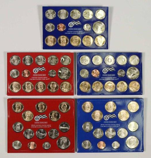 5 -  US Mint Sets; 2-2008 P, 2008 D, 2010 P, 2010 D