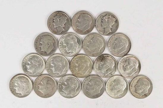2 Mercury Silver Dimes & 16 Roosevelt Silver Dimes, various dates/mints