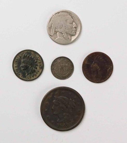 1845 US Large Cent, 1853 Three Cent, 2 Indian Head Pennies (1881/1906) & 1 Buffalo Nickel