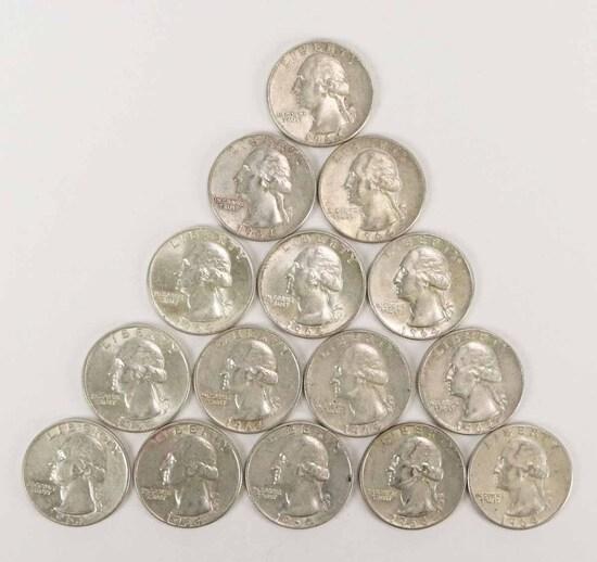 15 - 1964 Washington Silver Quarters; various mints