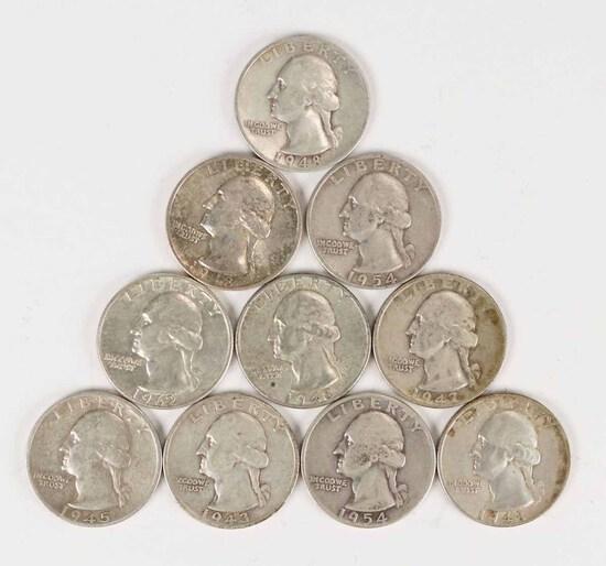 10 Washington Silver Quarters; various dates/mints