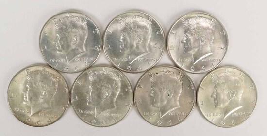 7 - 1964 Kennedy 90% Silver Half Dollars