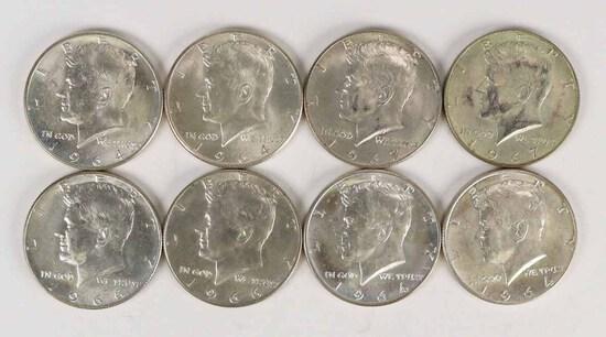 4-1964 Kennedy 90% Silver Half &  4-40% Silver Kennedy  Half Dollars