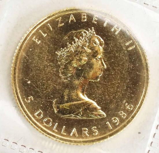 1986 Canada 1/10 oz .999 Gold Maple Leaf/Elizabeth II $5 Coin