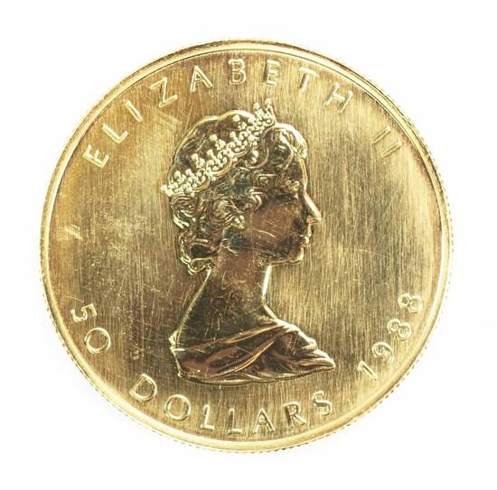 1988 Canada 1 oz .999 Gold Maple Leaf/Elizabeth II $50 Coin
