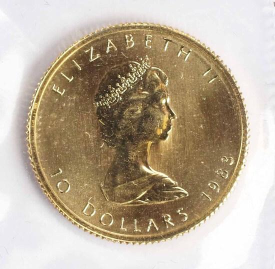 1983 Canada 1/4 oz .999 Gold Maple Leaf/Elizabeth II $5 Coin