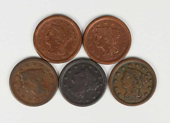5 US Large Cents; 1850,1853,1851,2-1854