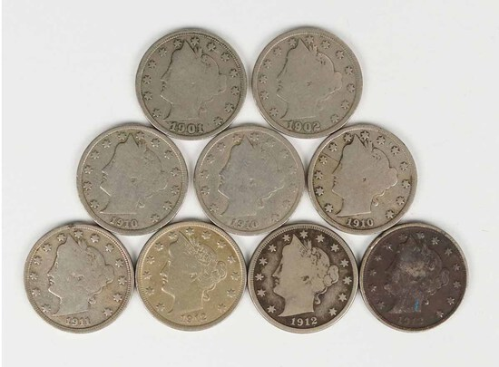 9 Liberty Head V Nickels; 1901,1902,3-1910,1911,3-1912