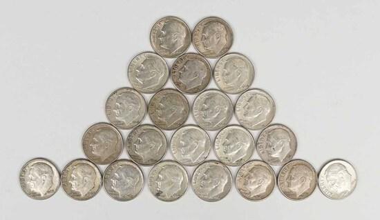 22 Roosevelt Silver Dimes, various dates/mints