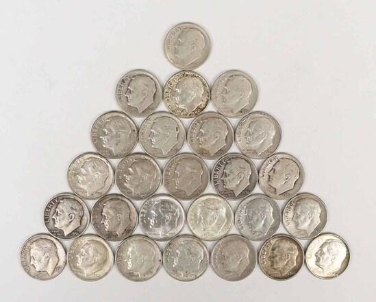 26 Roosevelt Silver Dimes, various dates/mints