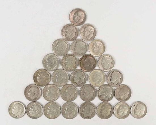 29 Roosevelt Silver Dimes, 3-1940's, 26-1950's, various mints
