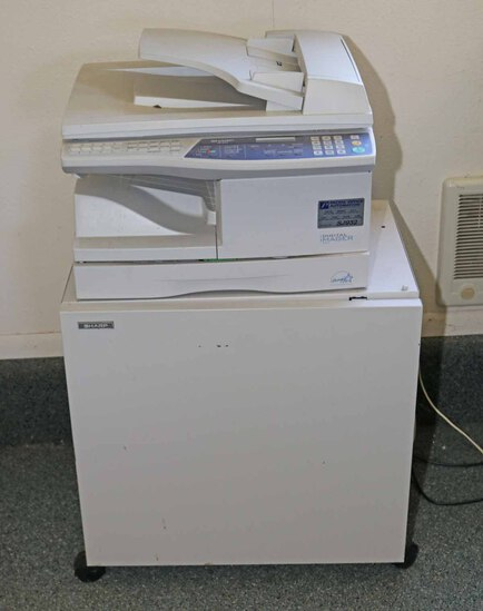 Sharp Copy Machine AR-168S  w/ Supply Cabinet