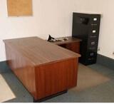 Desk, Filing Cabinet, Pad