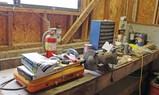 Bench Lot 1: Grinder, Camp Stove, Parts Bin & More