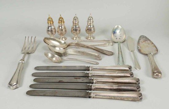 Assorted Sterling Silver Flatware - Service Items, 580 Grams