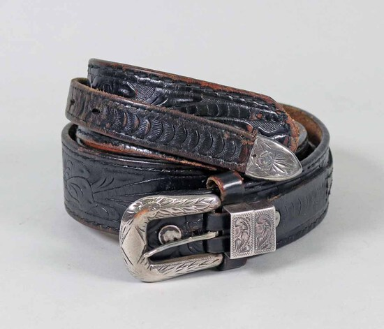 Western Belt w/ Sterling Silver Buckle - Tip, Texas