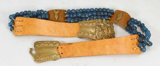 Brass, Leather & Beaded Belt